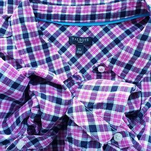TALBOTS Woman Pink Plaid Button Down Oxford